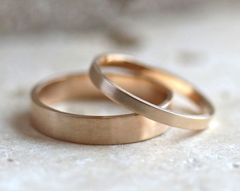 Gold Wedding Band Set, His and Hers 4mm and 2mm Brushed Flat 14k Recycled Yellow Gold Wedding Ring Set Gold Rings -  Made in Your Size