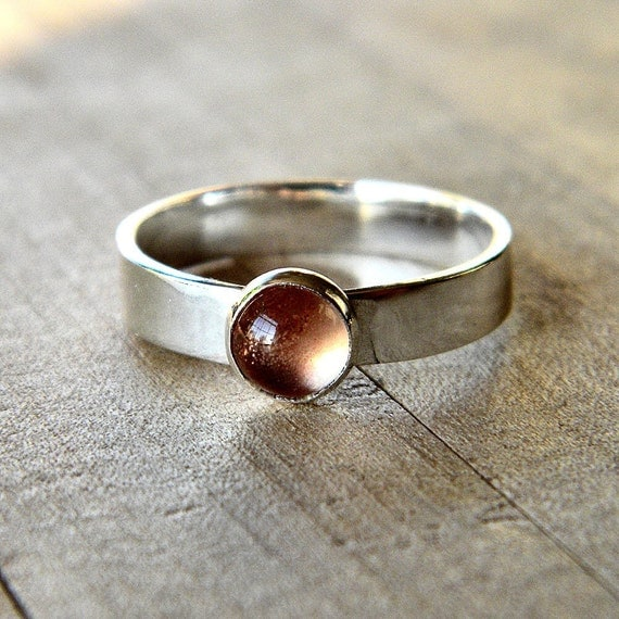 Oregon Sunstone Ring, Peach Pink Gemstone Sterling Silver Ring - Made to Order - Firefly