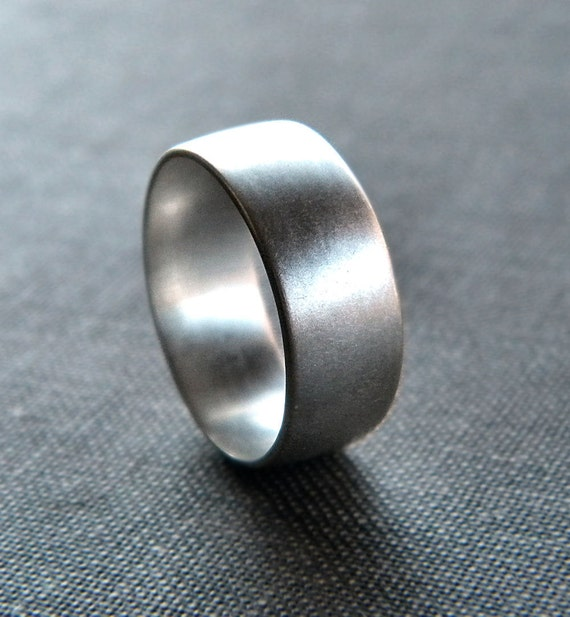 Men's Silver Ring, Matte 8mm Men's or Unisex Recycled Argentium Sterling Silver Low Dome Band - Made in Your Size