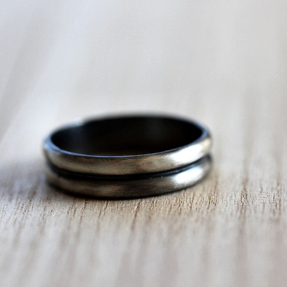 Men's Ring, 5mm Double Half Round Roughed Up Sterling Silver Unisex Metal Jewelry - Size 9 or Made in Your Size