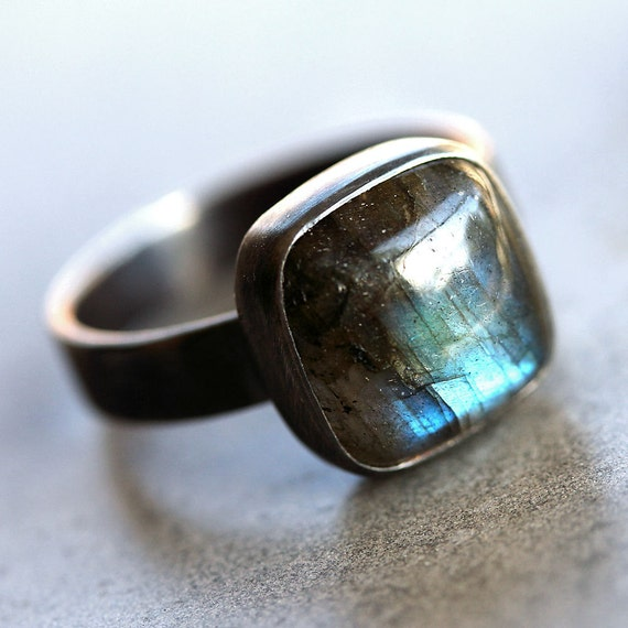 Labradorite Ring, Blue Flash Labradorite Oxidized Recycled Argentium Sterling Silver Ring - Size 9 - Eye Of The Storm
