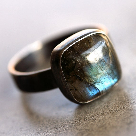 Labradorite Ring, Blue Flash Labradorite Oxidized Recycled Argentium Sterling Silver Ring - US Size 9