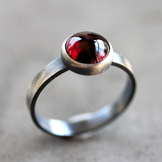 Garnet Ring, Black Cherry Red Garnet Gemstone Roughed Up Sterling Silver Ring January Birthstone - Made to Order - Sangria