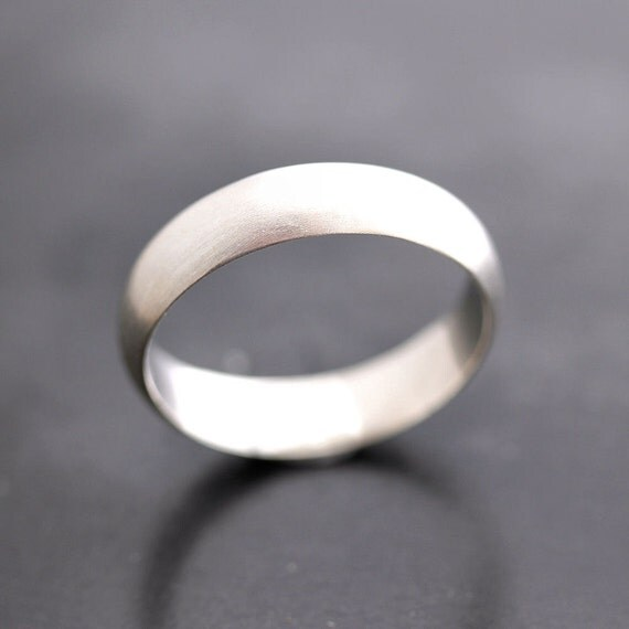 Men's Wedding Band, Matte 5mm Half Round Brushed Unisex Recycled Metal Argentium Sterling Silver Ring Men's Ring - Made in Your Size