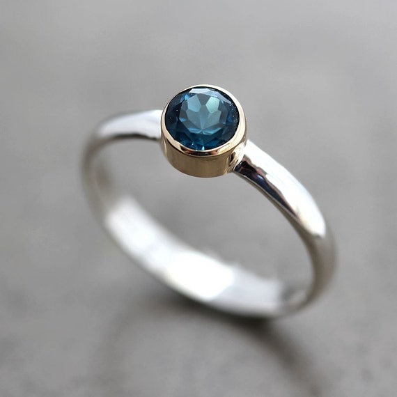 London Blue Topaz Ring, Teal Blue Stone 14k Gold and Sterling Silver Ring December Birthstone - Ready to Ship in US Size 6.5