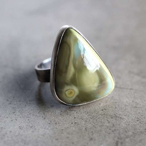 Reserved - Imperial Jasper Ring, Avocado and Mint / Sage Green Stone Organic Freeform Oxidized Sterling Silver Ring Spring Fashion - Size 6