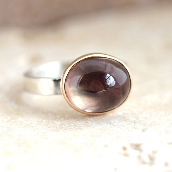 Oregon Sunstone Ring, Peach Pink Sage Green Stone 14k Gold Ring and Sterling Silver Ring Sunstone Jewelry - US Size 6 - Firefly