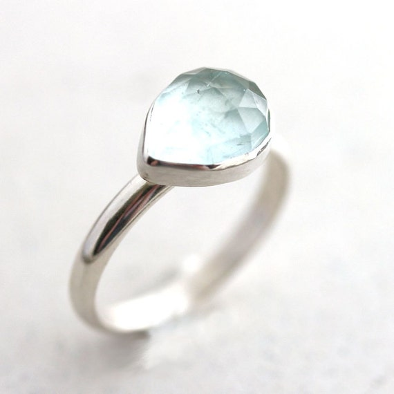 Aquamarine Ring, Pastel Sky Blue Faceted Stone Oxidized Sterling Silver Ring March Birthstone Aquamarine Jewelry - Ready to Ship Size 6.75