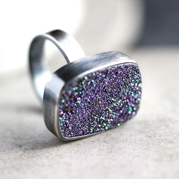 Purple Druzy Ring, Violet Purple Drusy Oxidized Argentium Sterling Silver Ring - Druzy Jewelry - Ready to Ship in US Size 5.5  - Peacock