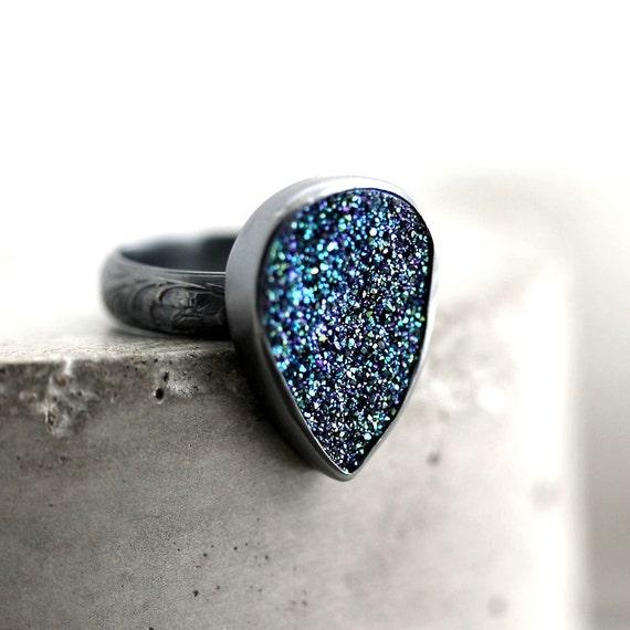 Cobalt Druzy Statement Ring, Ocean Midnight Indigo Blue Green Druzy Oxidized Sterling Silver Ring Cocktail Ring  - Size 6 - Mermaid