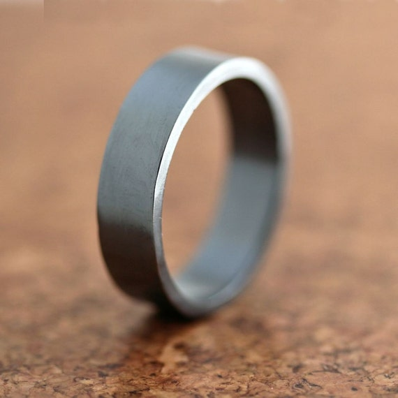 Men's Silver Wedding Band, 6mm Wide, Simple Flat Band Recycled Argentium Sterling Silver Ring - Ready to Ship in US size 9.5