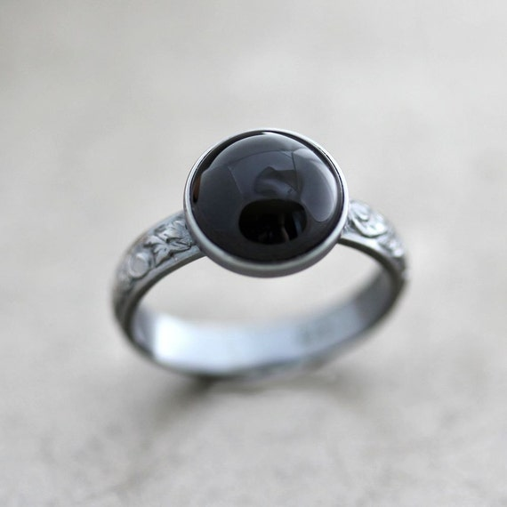 Coal Night Black Onyx and Oxidized Sterling Silver Ring Patterned Band - Made to Order - Blackout