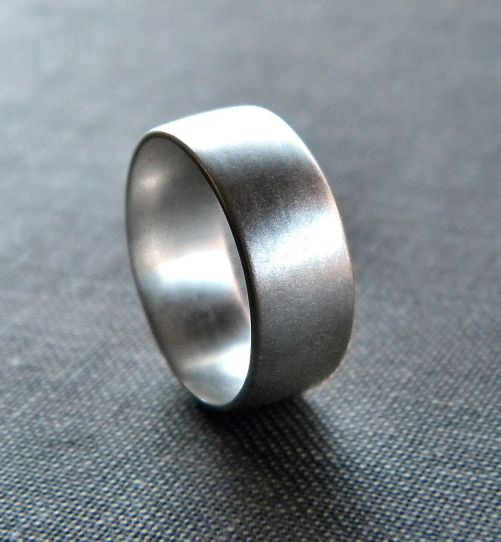 Mens Silver Ring Matte 8mm Mens Or Unisex Recycled