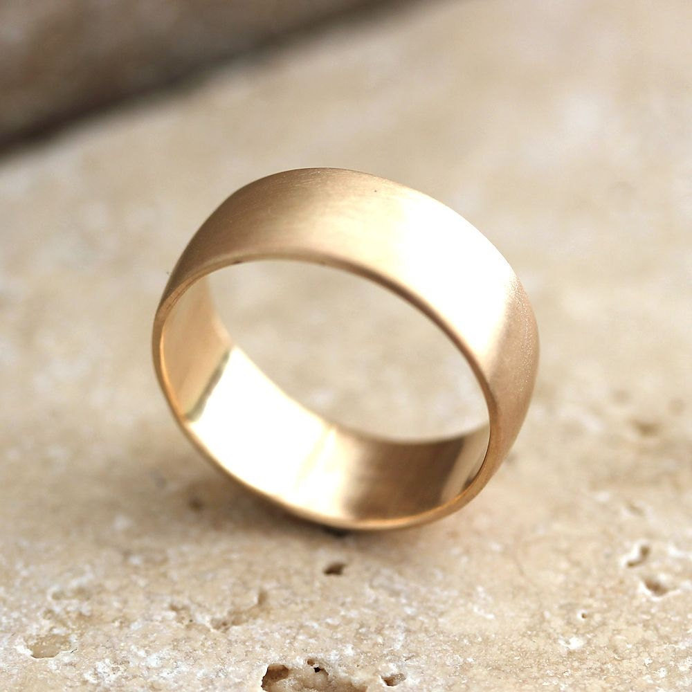 Wide Mens Gold Wedding Ring 8mm Low Dome Mens