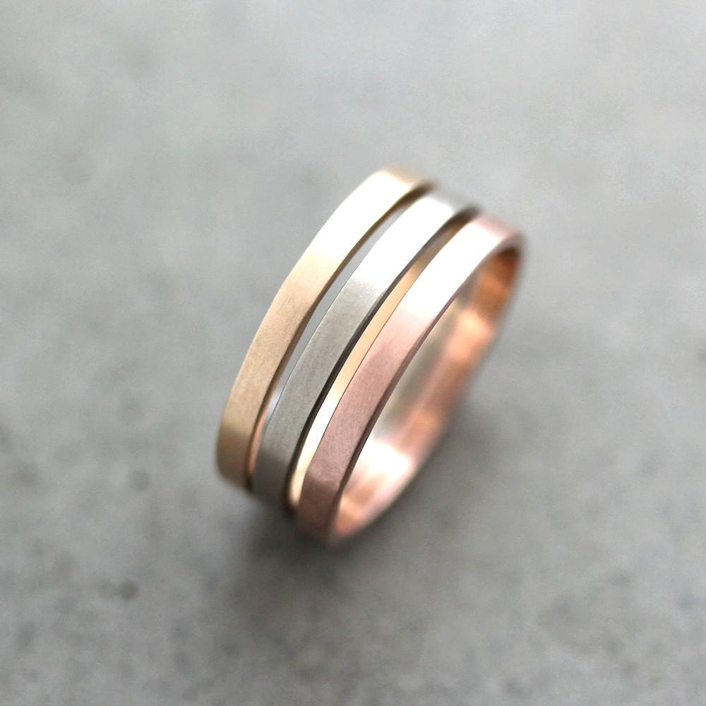 Wire Bands: Gold Wedding Band Stacking Rings Mixed Metal 2mm Recycled 14k