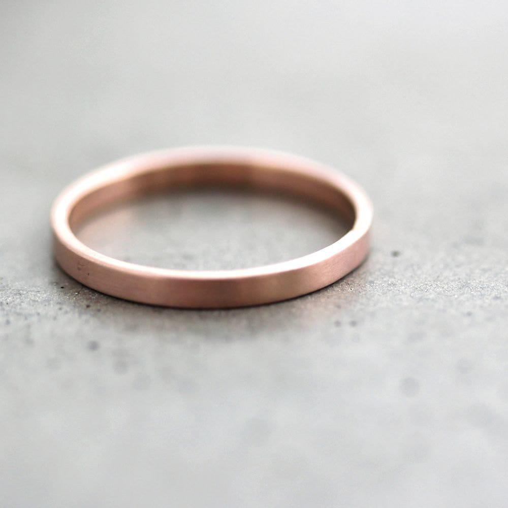 rose gold wedding band stackable ring 2mm slim flat recycled. Black Bedroom Furniture Sets. Home Design Ideas