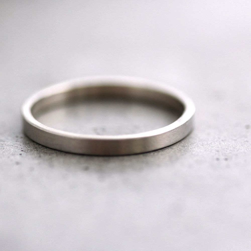 white gold wedding band stackable ring 2mm slim recycled 14k