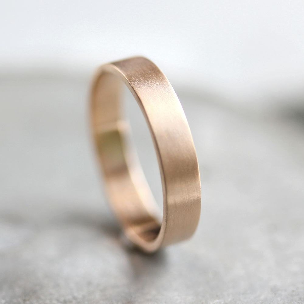 unisex wedding band mens gold wedding rings Men s Gold Wedding Band Unisex 4mm Brushed Flat 10k Recycled Yellow Gold Wedding Ring Gold Ring Made in Your Size