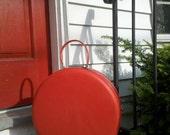 Reserved - Red Round Circle Suitcase Traincase - American Tourister Tiara Vintage Luggage - Hat Box