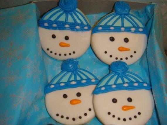 1 Dz Snowmen with Beannie  Vanilla Sugar Cookies