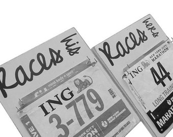 wedding gift: race bibs display for her and him