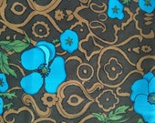 VINTAGE HAWAIIAN FABRIC Blue, Green, Brown & Tan Tapa, Polynesian, Hawaiian Floral Fabric