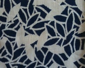 VINTAGE FABRIC Blue & White Floral Leaf Pattern Cotton Voile Fabric