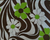 VINTAGE VOILE FABRIC Beautiful Lime Green, Brown & White Floral Voile Fabric
