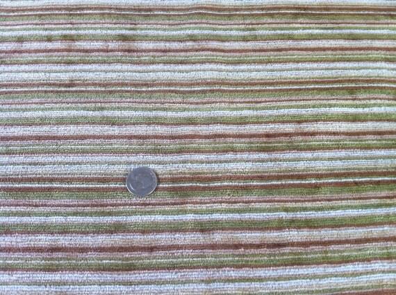 VINTAGE STRIPED FABRIC Dark Green, Brown & Tan Fabric