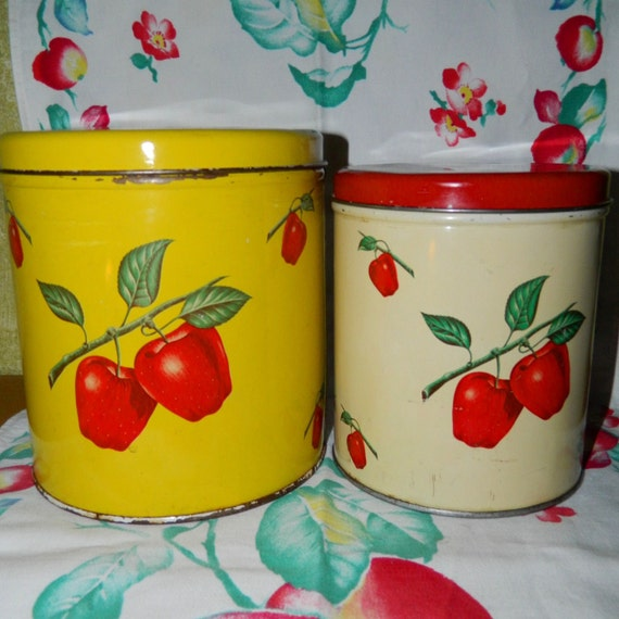 reserved for sally apple canisters for the retro kitchen or