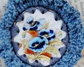 Ruffled Pansy Crochet Brooch, Handmade
