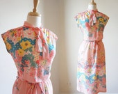 Bright Sunshiny Day 70s Vintage ILGWU  Dress ( M / L)