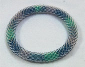 Ocean Colored Bead Crochet Bangle - Ready to Ship