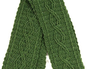 Eco-Friendly Green Chain Cable Crocheted Scarf - Ready to Ship