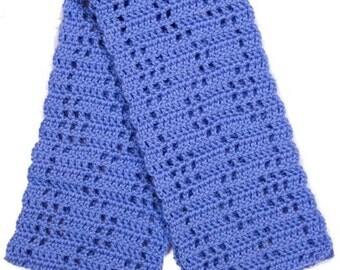 Blue Filet Wavy Lines Crocheted Scarf - Ready to Ship
