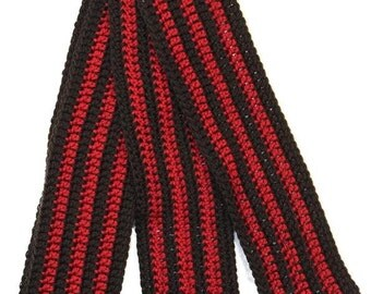 SALE! Skinny Black and Red Stripes Scarf - Ready to Ship