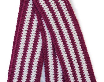 SALE! Skinny Orchid and White Stripes Wool Scarf - Ready to Ship