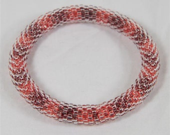 Red and Orange Seed Bead Bangle - Ready to Ship