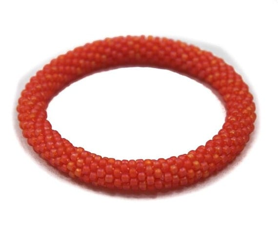 Orange Seed Bead Bangle - Ready to Ship