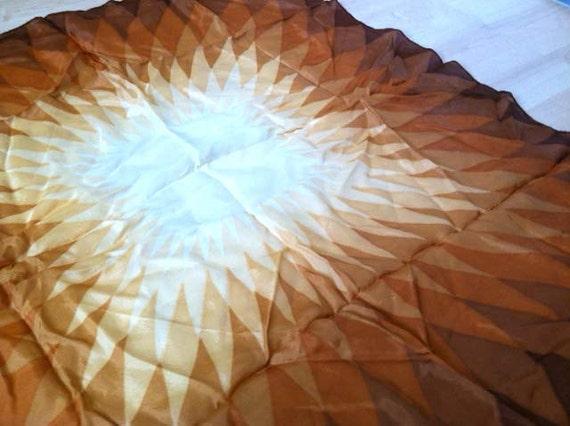 SALE 1970s Starburst Burst Sienna Geometric Diamond Handkerchief Scarf