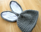 Toddler Rabbit Hat - Easter Crochet Cap with Ears - 12 Months to 4T size - Photo Prop