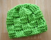 Basketweave hat, green, 5T to Preteen sizes