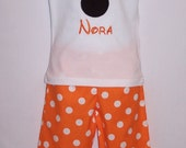 Custom Boutique Clothing Girls  Mouse Applique Pants, Shorts, or Capri Set, Size 12mos-6yr
