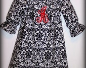 Custom Boutique Clothing Girls Dress Black and White Damask Peasant Dress with Monogram Initial, Size 3mos to 8yr