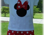 Custom Boutique Clothing Girls CUTE Mouse Red and White Polka Dot Short Set, 6 mos to 6yr