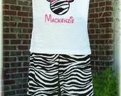 Custom Boutique Clothing Girls Mouse Zebra Pants, Capri, or Shorts Set Outfit 12mos to 6yr
