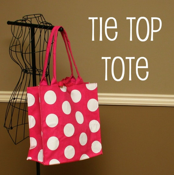Tie Top Tote in Trendy Pink