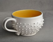 Spiky Mug: White and Yellow Dangerously Spiky Cocoa/Soup Mug by Symmetrical Pottery