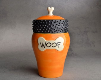 "Dog Treat Jar: ""Woof"" Orange and Black Spiky Collared Treat Jar by Symmetrical Pottery MADE TO ORDER"