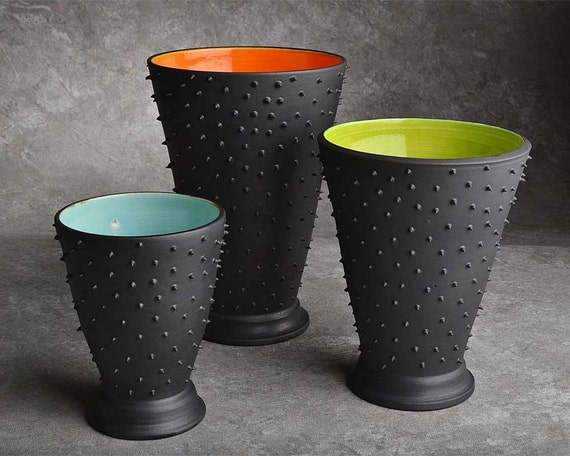 Custom Listing For Kate's Bridal Registry: Dangerously Spiky Trio of Vases by Symmetrical Pottery  Made to order